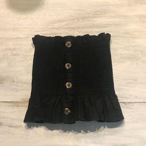 Vestique black ruched tube top